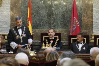 El presidente del TS y del CGPJ, Carlos Lesmes, durante su discurso (Casa Real)