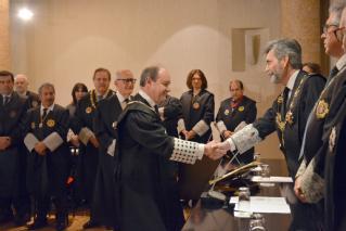 El presidente del alto tribunal madrileño, Celso Rodríguez, saluda al presidente del Tribunal supremo y del CGPJ, Carlos Lesmes